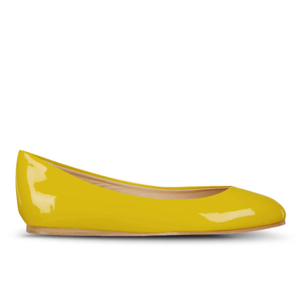 Just Ballerinas Women's Patent Ballerina Pumps  - Yellow