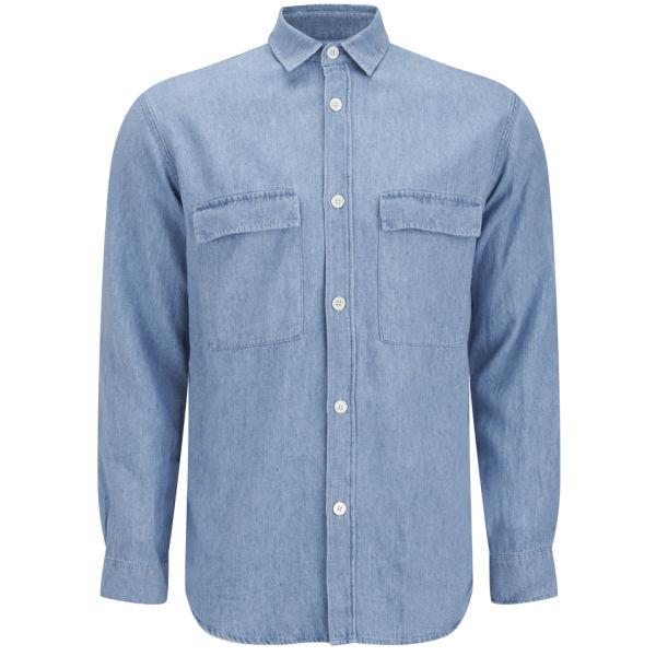 Our Legacy Men S 2 Pocket Long Sleeve Denim Shirt Light