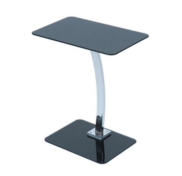 Black Glass Latop Table Chrome Leg