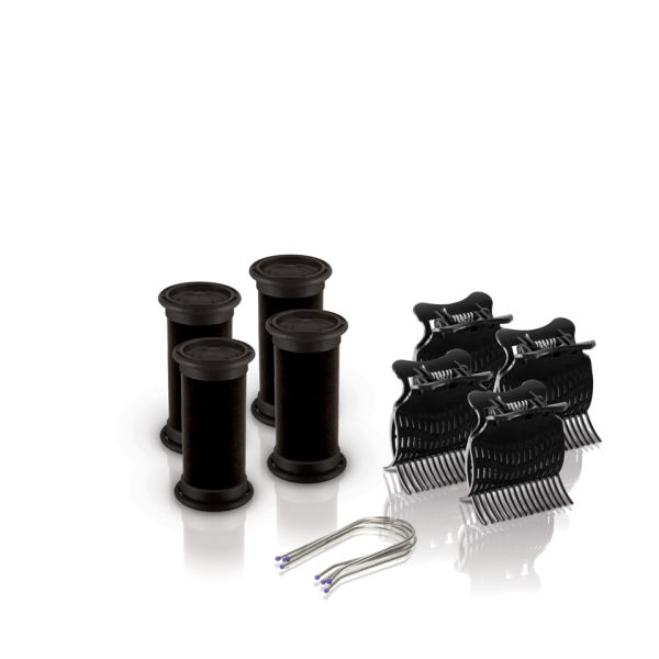 Rulos calientes Diva Session Instant Heat 25mm + pinzas y clips para el pelo - Pack de 4