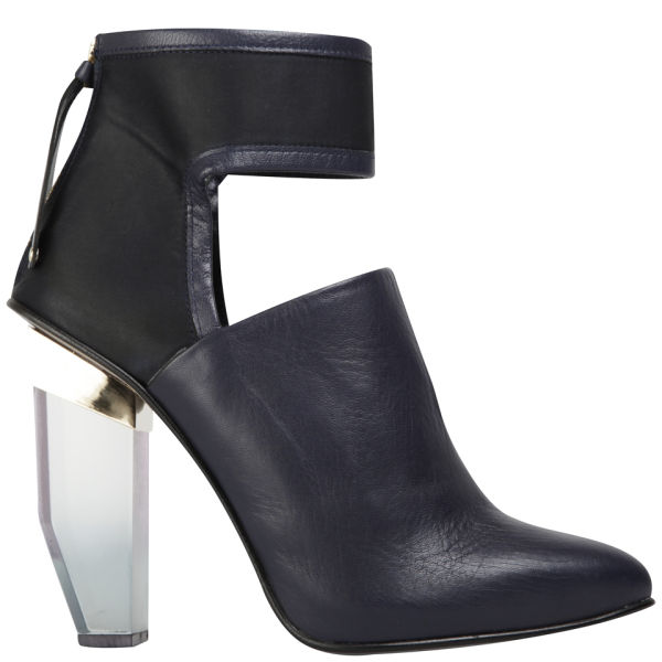 Miista Women's Debora Perspex Leather Heeled Boots - Navy
