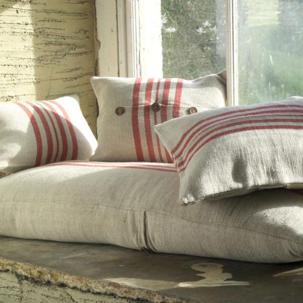 Rustic Linen Cushion Cover Natural Red Medium Homeware