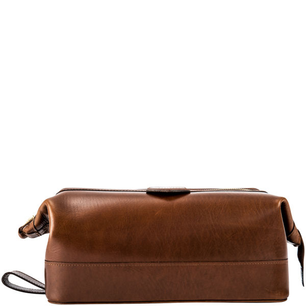 Daines Amp Hathaway Large Leather Wash Bag Brooklyn Brown