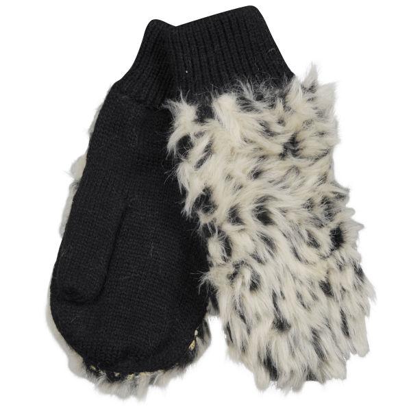 SNOW LEOPARD FAUX FUR MITTENS Womens Accessories