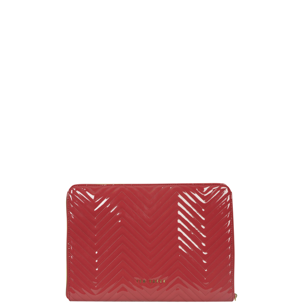 Ted Baker Lianna Quilted Laptop Sleeve- dark red