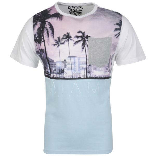 Cinch men 39 s miami photo print t shirt white sky marl for Miami t shirt printing