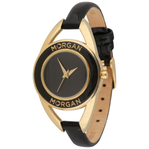 Morgan Women S Gold Dial Black Strap Watch Clothing