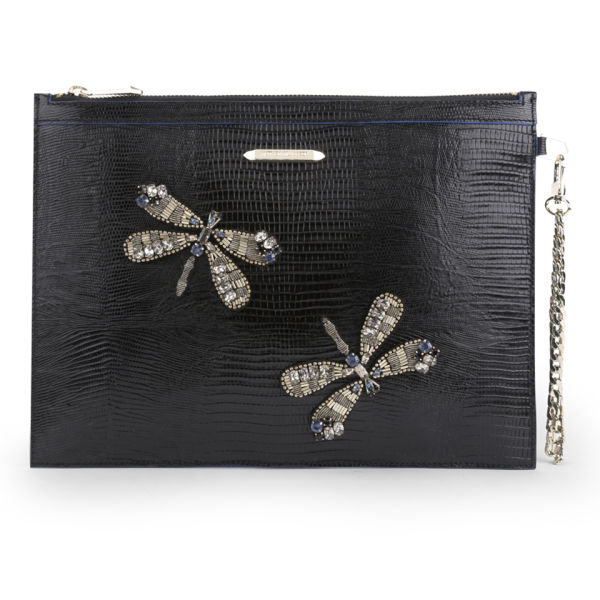 Matthew Williamson Women's Nomad Dragonfly Pouch Leather Clutch Bag - Black Lizard