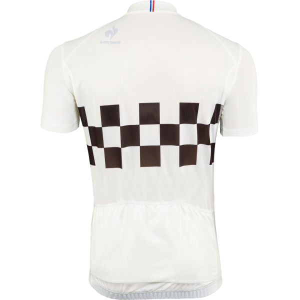 dddac2bbc Le Coq Sportif Men s Cycling Performance Short Sleeve Checkered Jersey -  Marshmallow  Image 1