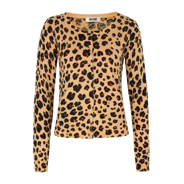 Moschino Cheap and Chic Women's A0960 Leopard Print Cardigan - Peach