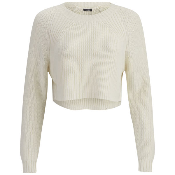 2NDDAY Women's Ashja Cropped Knitted Jumper - White