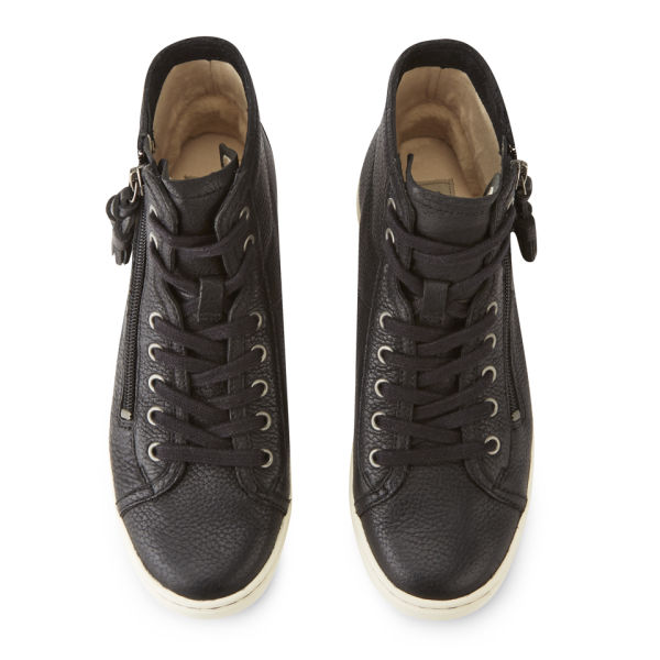 UGG Women's Blaney Leather Hi-Top Trainers - Black: Image 2