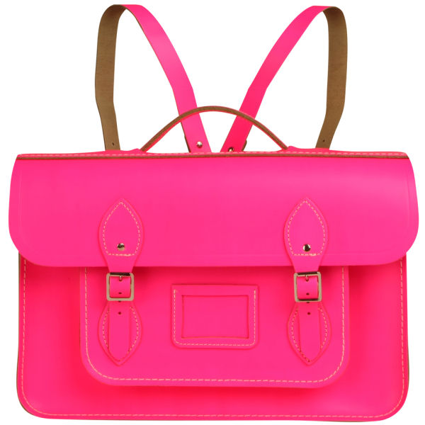 The Cambridge Satchel Company 15 Inch Fluoro Leather Batchel Backpack -  Fluorescent Pink  Image 1 f216f2c121a26