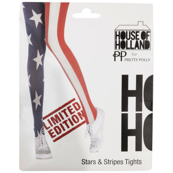 House of Holland Pretty Polly Women's Star and Stripes Tights - Navy/Red/White - One Size