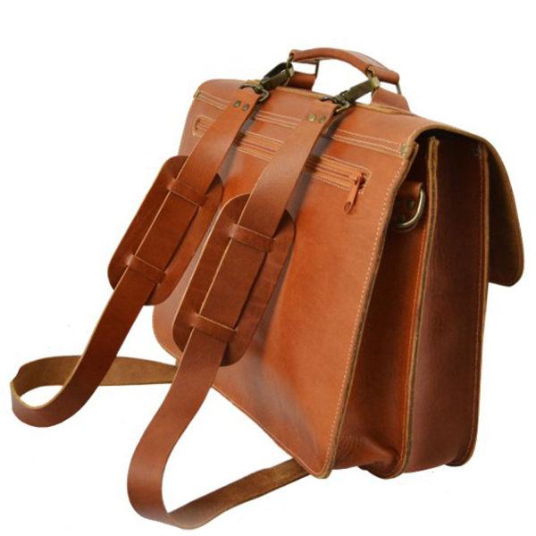 Grafea Postwar Leather Backpack Briefcase - Caramel | Free ...