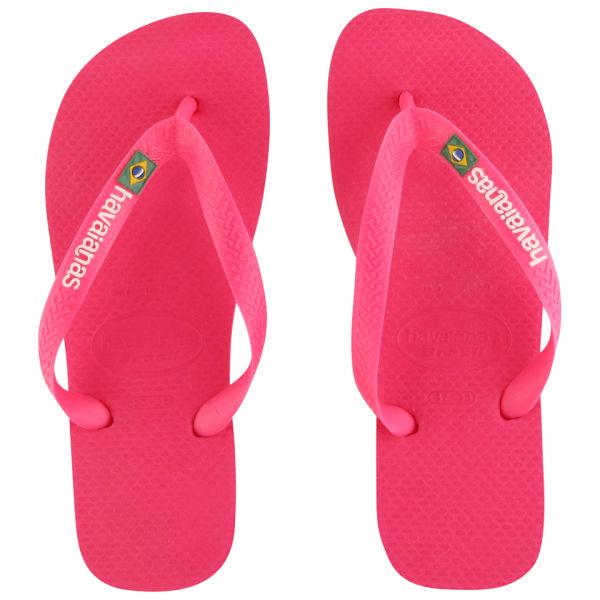 Havaianas Women's Brasil Logo Flip Flops - Pink