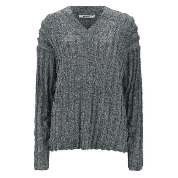 T by Alexander Wang Women's Merino Knitted Frayed V-Neck Jumper - Petrol