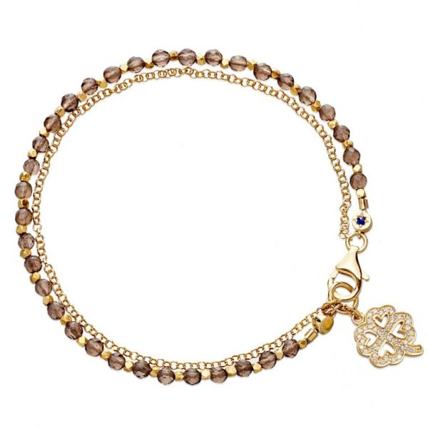 Astley Clarke Four Leaf Clover 18ct Gold Friendship Bracelet - Gold