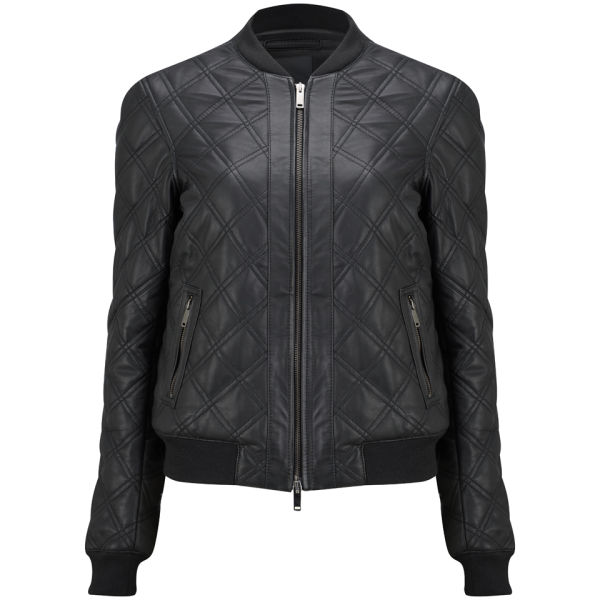 Lot 78 Women's Quilted Leather Bomber Jacket - Black