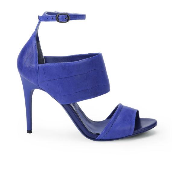 McQ Alexander McQueen Women's Croc Leather Heeled Sandals - Cobalt