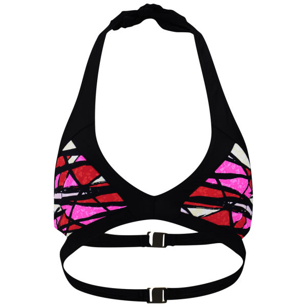 French Connection Women's Shadow Dance Sporty Bikini Top - Havana Red/Multi/Black