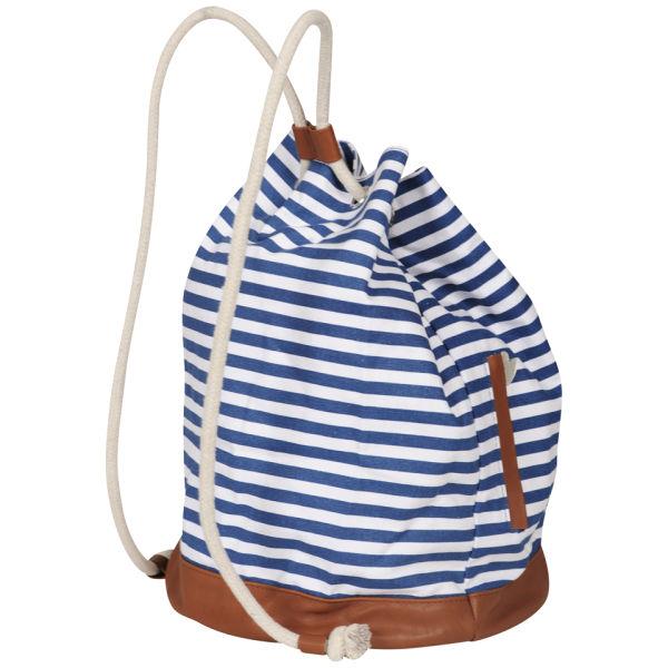 Paul Frank Stripe Drawstring Duffle Bag - Navy/Cream Womens ...