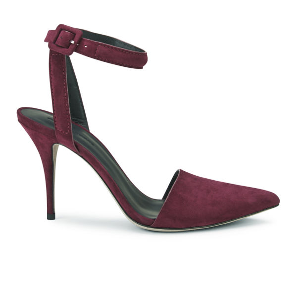 Alexander Wang Women's Lovisa Kid Suede Strappy Pointed Toe Heels - Beet Red