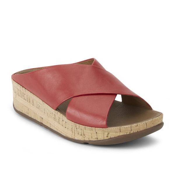 de6d609a50dd FitFlop Women s Kys Leather Slide Sandals - Red  Image 5