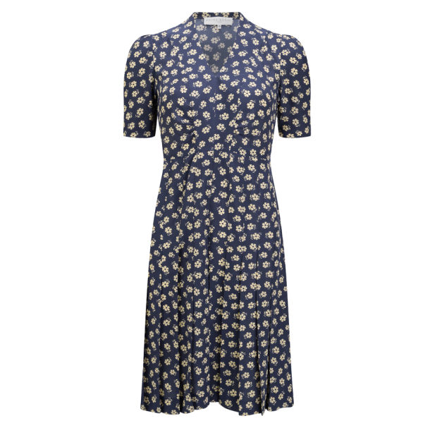 Edina Ronay Women's Exclusive Daisy Print Vintage Gathered Dress - Navy