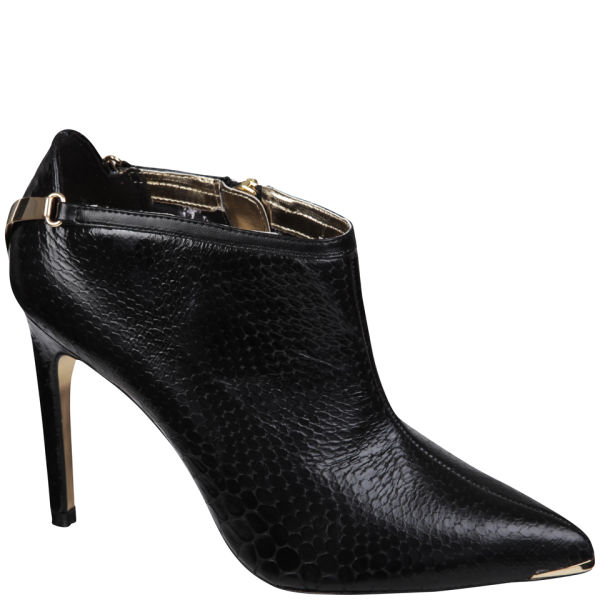 f9547cd9b6663 Ted Baker Women s Navlig Leather Pointed Heeled Ankle Boots - Black Snake   Image 1