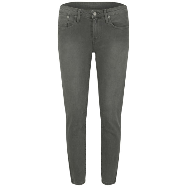 Helmut Lang Women's Coated Mid Rise Skinny Jeans - Grey