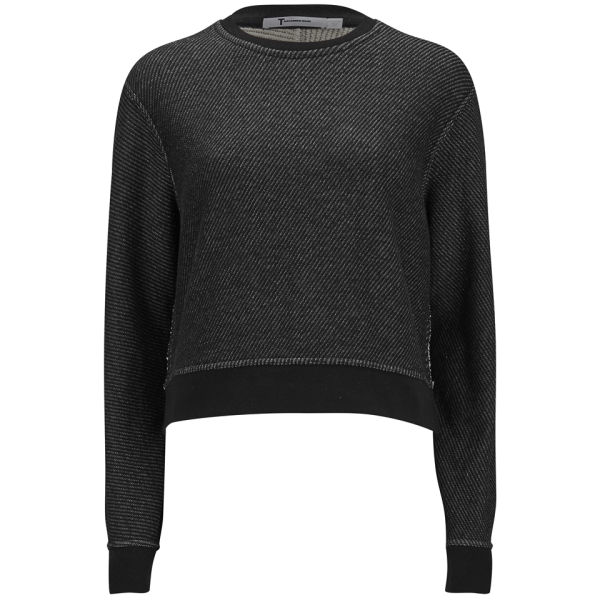 T by Alexander Wang Women's Cotton Twill French Terry Cropped Sweatshirt - Black/Grey