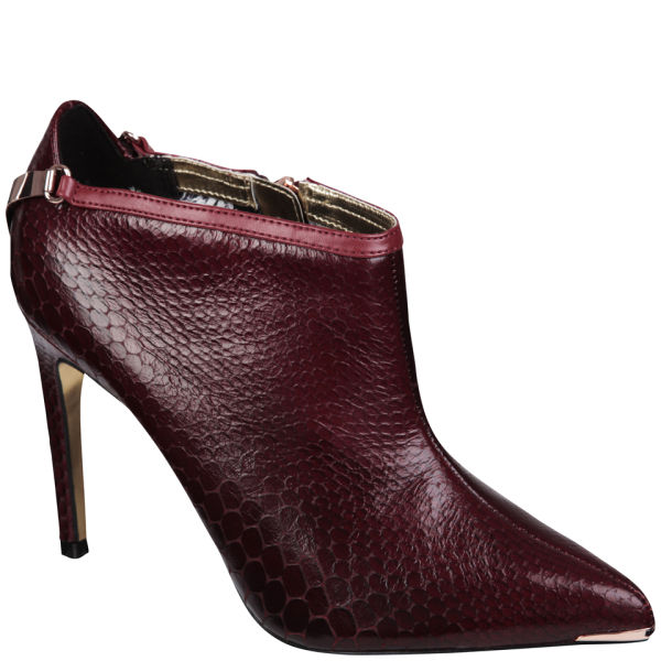 Ted Baker Women's Navlig Leather Pointed Heeled Ankle Boots - Dark Red Snake