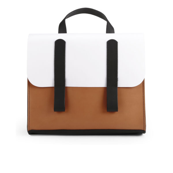 Danielle Foster Kimberley Colourblock Leather Satchel - Black/Tan/White
