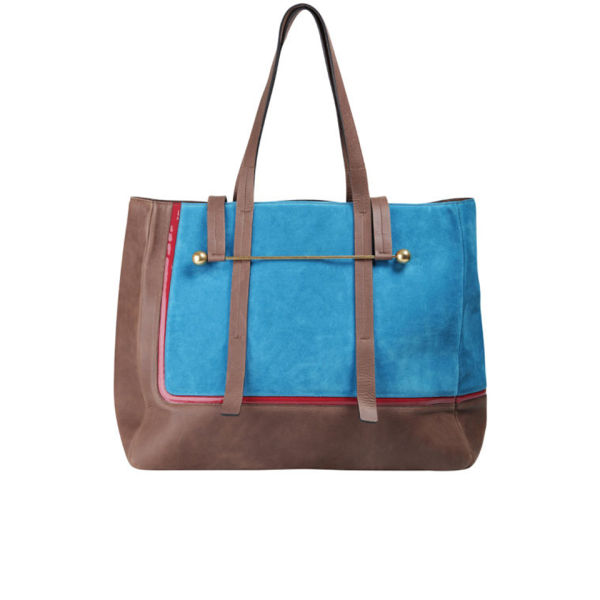 Rupert Sanderson Viki Leather Tote - Blue Suede and Brown Calf Leather