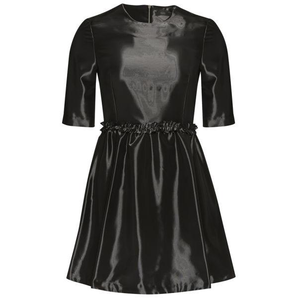 Markus Lupfer Women's Liquid Shine Frill Waist Dress - Black