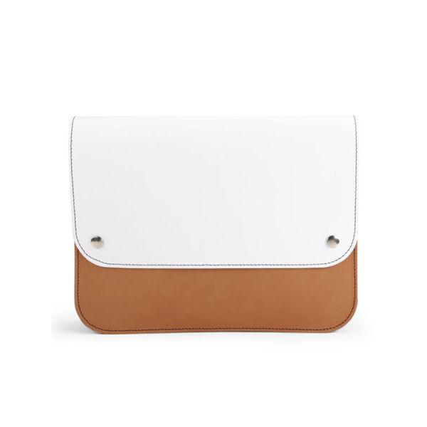 Danielle Foster Kit Colourblock Leather Clutch Bag - Black/Tan/White