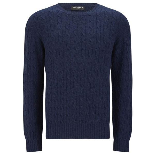 Knutsford Men's Cashmere Cable Knit Sweater - Ink