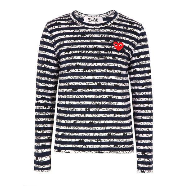 Comme des Garcons PLAY Women's T159 Binky & Sheba T-Shirt - Navy Stripe