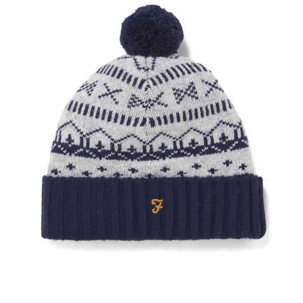 Farah Vintage Men's Mantle Fairisle Bobble Hat - Rain Heather Mens ...
