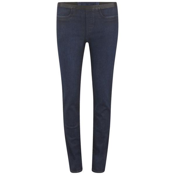 Helmut Lang Women's Mid Rise Skinny Fit Coated Glossy Leggings - Dark Indigo