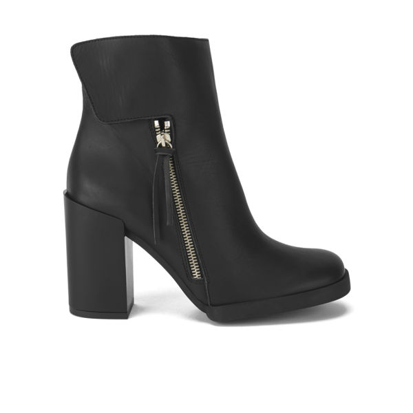 Miista Women's Ashlee Leather Zip Detail  Heeled Leather Ankle Boots - Black