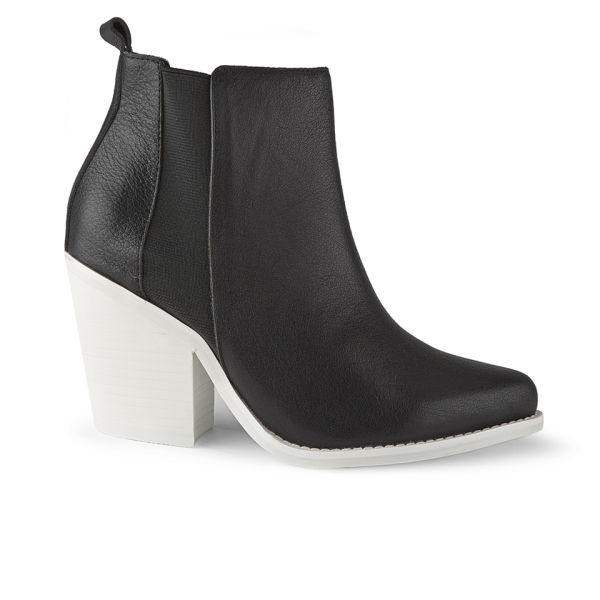 Sol Sana Women's Toni Leather Heeled Ankle Boots - Black/White Sole
