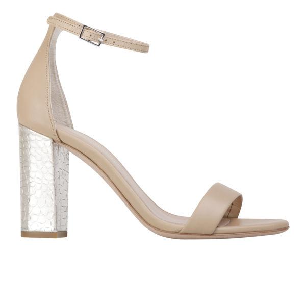 Kurt Geiger Women's Isabella Leather/Croc Print Heeled Sandals - Nude/Metallic