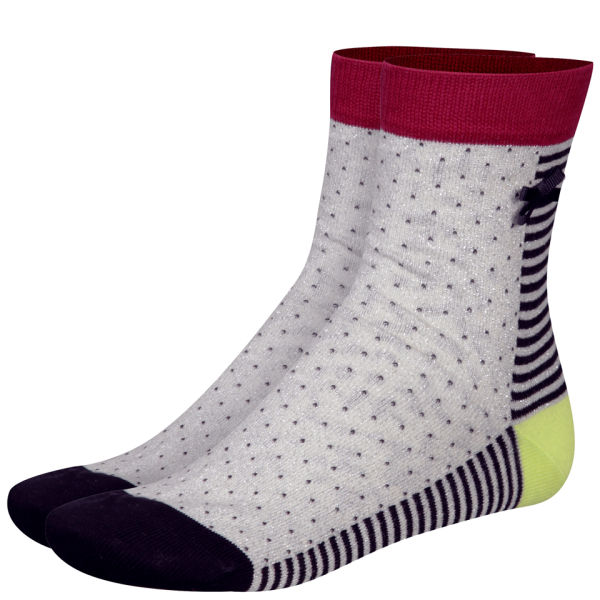 Paul by Paul Smith Women's Spot and Stripe Socks - Cream