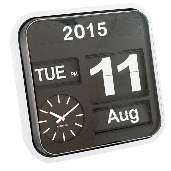 Vintage Wall Clock With Flip Calendar Black Homeware Zavvi