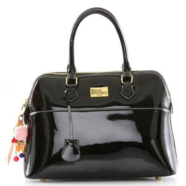Paul S Boutique Maisy Patent Kettle Bag Black Image 1