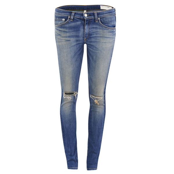 rag & bone Women's The Skinny Mid Rise Distressed Jeans - Capistrano