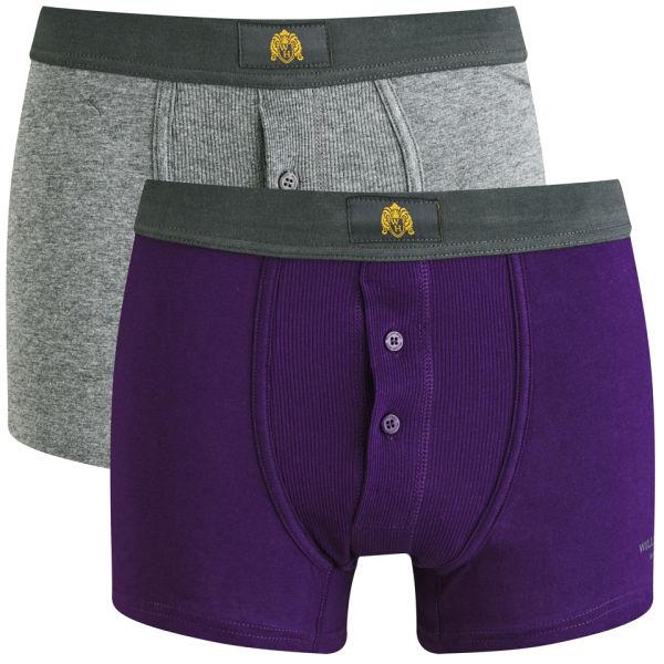 dfd75ba2a6911 William Hunt Men s 2 Pack Boxers - Charcoal Plum Mens Underwear ...