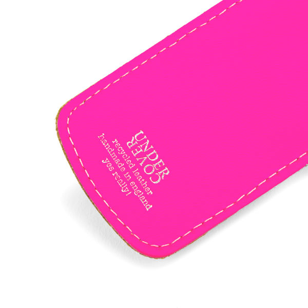645c915e4770 Undercover Recycled Leather Luggage Tag - Fluorescent Pink: Image 2